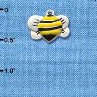 C1020 tlf - Front Yellow Silver Bumble Bee - Silver Plated Charm (6 per package)
