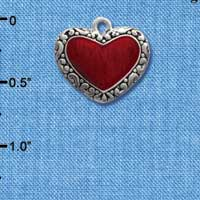 C1028 tlf - Red Enamel Heart Charm with border detail - Silver Plated Charm (6 per package)
