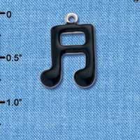C1039 ctlf - Musical Notes Black - Silver Plated Charm (6 per package)
