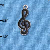 C1040 tlf - Clef Note Black - Silver Plated Charm (6 per package)