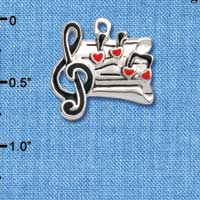C1042 tlf - Music Sheet Hearts - Silver Plated Charm (6 per package)