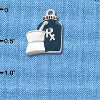 C1052 tlf - Blue Prescription Bottle - Silver Plated Charm (6 per package)