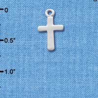 C1061+ tlf - Cross Plain - Silver Plated Charm (6 per package)