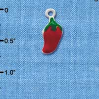 C1063* tlf - Red Jalapeno - Im. Rhodium Plated Charm (left & right) (6 per package)