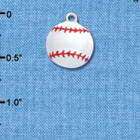 C1067 tlf - White Enamel Baseball - Silver Plated Charm (6 per package)