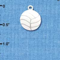C1069 tlf - Large White Enamel Volleyball - Silver Plated Charm (6 per package)
