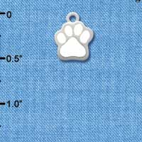 C1147 tlf - Mini White Paw - Silver Plated Charm (6 per package)