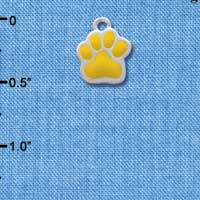 C1148 tlf - Mini Yellow Paw - Silver Plated Charm (6 per package)