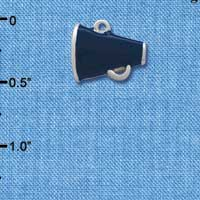 C1164* ctlf - Mini Blue Megaphone - Silver Plated Charm (6 per package)
