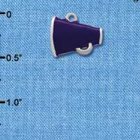 C1169* ctlf - Mini Purple Megaphone - Silver Plated Charm (6 per package)