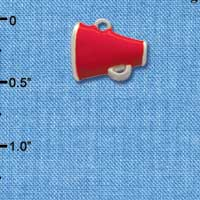 C1170* ctlf - Mini Red Megaphone - Silver Plated Charm (6 per package)
