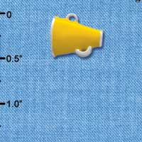 C1174* ctlf - Mini Yellow Megaphone - Silver Plated Charm (6 per package)