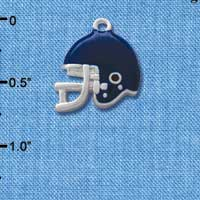 C1177* - Small Blue Football Helmet - Silver Plated Charm (6 per package)