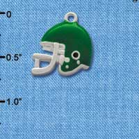 C1179* - Small Green Football Helmet - Silver Plated Charm (6 per package)