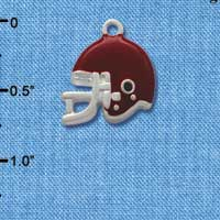 C1180* - Small Maroon Football Helmet - Silver Plated Charm (6 per package)