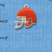 C1181* tlf - Small Orange Football Helmet - Silver Plated Charm (6 per package)