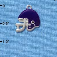 C1182* - Small Purple Football Helmet - Silver Plated Charm (6 per package)