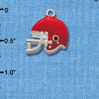 C1183* tlf - Small Red Football Helmet - Silver Plated Charm (6 per package)