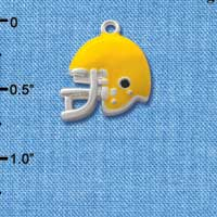 C1187* tlf - Small Yellow Football Helmet - Silver Plated Charm (6 per package)