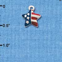 C1195 tlf - Mini USA Flag Star - Silver Plated Charm (6 per package)
