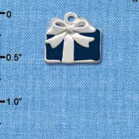 C1225 tlf - Present Blue - Silver Plated Charm (6 per package)