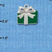 C1227 tlf - Present Green - Silver Plated Charm (6 per package)