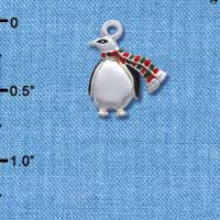 C1236* tlf - Penguin Scarf - Silver Plated Charm (left & right) (6 per package)