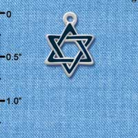 C1243 ctlf - Blue Star Of David - Silver Plated Charm (6 per package)