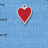 C1250 tlf - Card Suit Heart - Silver Plated Charm (6 per package)