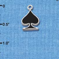 C1251 tlf - Card Suit Spade - Silver Plated Charm (6 per package)