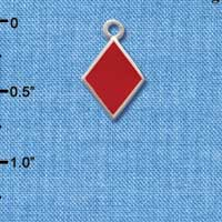 C1252 ctlf - Card Suit Diamond - Silver Plated Charm (6 per package)