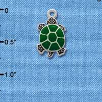 C1256* tlf - Turtle Top - Silver Plated Charm (6 per package)