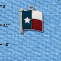 C1264 ctlf - Texas Flag Lone Star - Silver Plated Charm (6 per package)