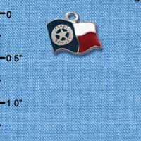 C1296 ctlf - Texas Flag Ranger Im. Rhodium Plated Charm (6 per package)