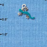 C1301 tlf - Lizard Teal - Silver Plated Charm (6 per package)