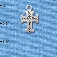 C1305 tlf - Cross - Silver Plated Charm (6 per package)