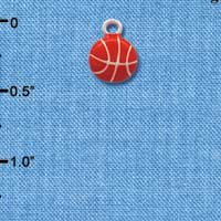 C1309 tlf - Mini Enamel Basketball - Silver Plated Charm (6 per package)