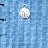 C1312 tlf - Mini Enamel Volleyball - Silver Plated Charm (6 per package)