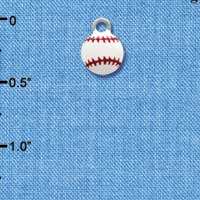 C1313 tlf - Mini Enamel Baseball - Silver Plated Charm (6 per package)