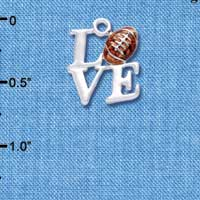 C1314 ctlf - Silver Love with Football - Silver Plated Charm (6 per package)