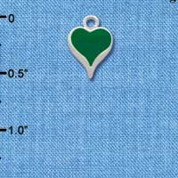 C1330 tlf - Small Long Green Heart - Silver Plated Charm (6 per package)