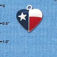 C1354 tlf - Heart Texas Lone Star - Silver Plated Charm (6 per package)