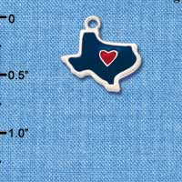C1427 tlf - Texas Blue Heart Red Im. Rhodium Plated Charm (6 per package)