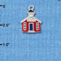 C1448 tlf - School House Red - Silver Plated Charm (6 per package)