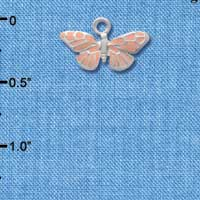 C1504 tlf - Butterfly Monarch Pink - Silver Plated Charm (6 per package)