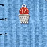 C1517 tlf - Basketball Hoop - Silver Plated Charm (6 per package)