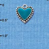 C1538 tlf - Turquoise Heart with Beaded Border - Silver Plated Charm (6 per package)