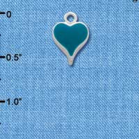 C1540 ctlf - Small Long Turquoise Heart - Silver Plated Charm (6 per package)