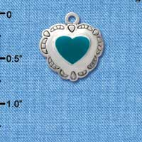 C1582 tlf - Heart Concho Turquoise - Silver Plated Charm (6 per package)