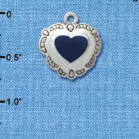 C1584 tlf - Heart Concho Blue - Silver Plated Charm (6 per package)